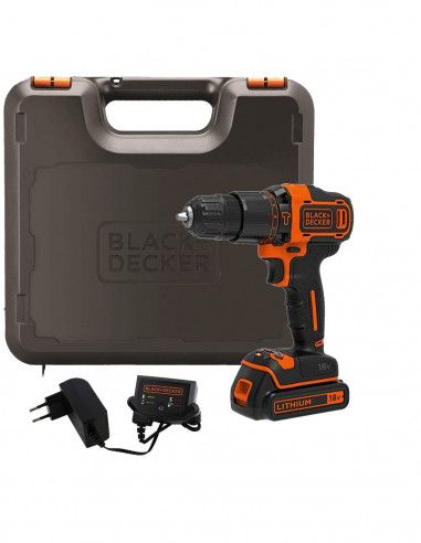 Taladro percutor BDCHD18K 18V + cargador 400mA + 1 batería Black+Decker