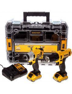 Kit taladro atornillador Dewalt DCK211D2T – taladro atornillador XR + atornillador impacto XR - 10,8 V + maletín DEWALT - 1