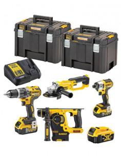 Set Dewalt - DCH253 + DCD796 + DCF887 + DCG412 + 3 bat 5,0Ah + cargador + 2 maletin