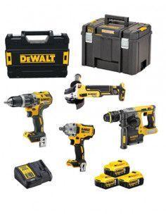 Power Kit Dewalt Martillo + Taladro + Amoladora + Atornillador Impacto a batería DCK428P3T