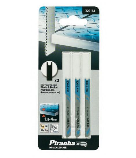 Kit de 3 Hojas HSS Corte Recto de 1.5 - 3 mm para Caladora Piranha X22153