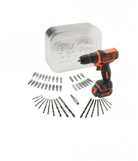 Taladro Atornillado Black+Decker 10,8V + 50 Accesorios en Caja de Metal BDCDD12AT