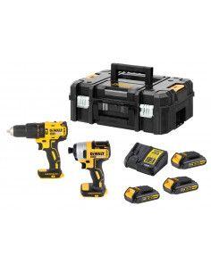 Set Taladro Percutor + Atornillador de Impacto 18V con 3 baterías 1,5Ah y maletín Dewalt DCK2060S3T DEWALT - 1