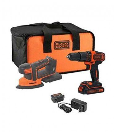 Set Taladro Percutor + Lijadora Mouse Black+Decker 18V + Bateria 1,5Ah y Bolsa de Transporte BCK23S1S-QW