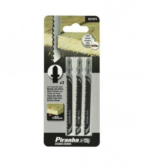 Kit 3 Hojas HCS para Corte Rapido y Recto para Caladora (Fijación Bosch) Piranha X21073