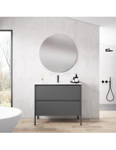Mueble de baño Icon Banq Ceniza 120cm + Lavabo de Marmol Hasvik VisoBath VISOBATH - 1
