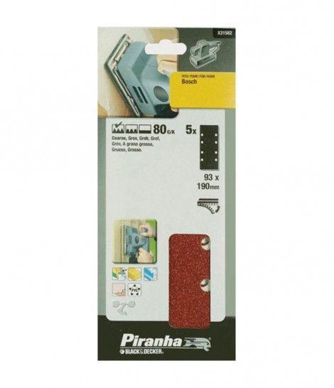 Kit 5 Hojas de Lija Perforadoras 93X190MM. Grano 80 para Lijadora Bosch. Piranha X31582
