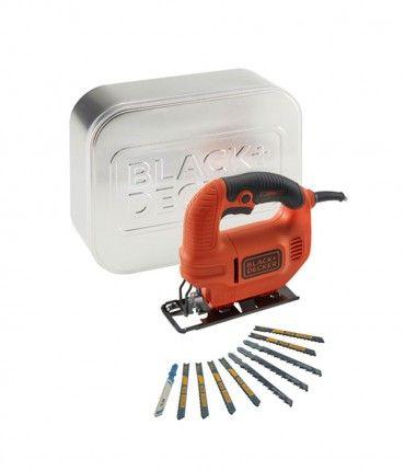 1. Sierra de calar Black & Decker KS501AT - caladora 400 W + caja de lata + hojas de calar