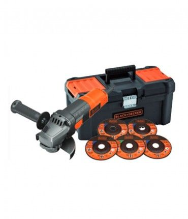 Amoladora Angular 900W 125mm + 5 discos + caja herramientas Black+Decker BEG220KA5-QS
