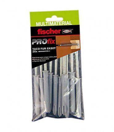 Bolsa 10Ud Taco Multimaterial PROfix FUR SS 8x80 Cabeza hexagonal Fischer