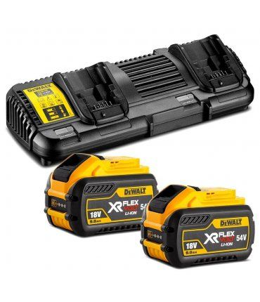 Kit 2 Baterías carril XR Flexvolt 54V/18V 9,0Ah y Cargador Doble XR Flexvolt DCB132X2 Dewalt