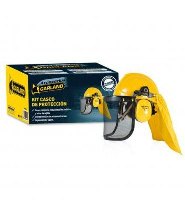 Kit Completo de protección Casco + Visera + Protección auditiva + Tela Garland