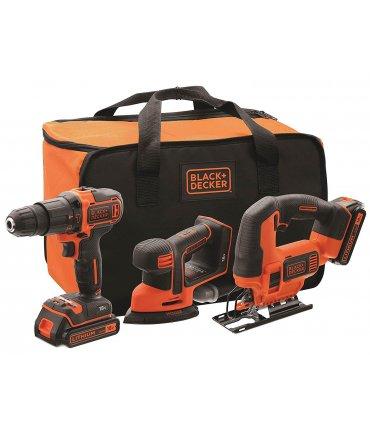 Set Taladro Percutor + Lijadora Mouse + sierra de calar 18V con 2 baterías 1.5Ah, cargador y bolsa Black+Decker BCK31S1S