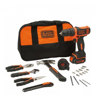 Black+Decker BDCDD12HTSA - Taladro Atornillador Compacto 10,8V 1,5Ah con 6 herramientas y 14 accesorios y bolsa de transporte