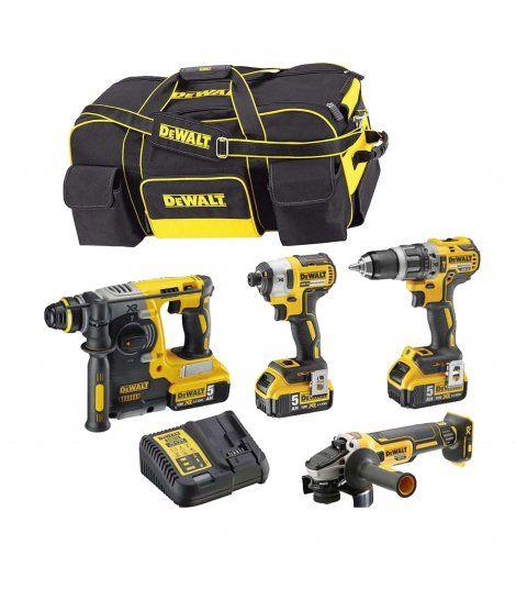 Power Kit Dewalt Martillo + Taladro + Amoladora + Atornillador Impacto DCK433P3