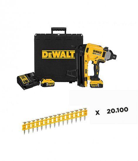 Combo Clavadora de Hormigón y Acero a Batería 18V DCN890P2 + 16080 Clavos Dewalt