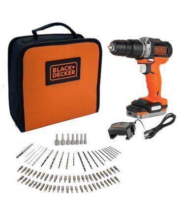 Taladro Percutor Black+Decker 12V + 80 accesorios + batería 1.5Ah + bolsa de transporte BDCHD12S1A