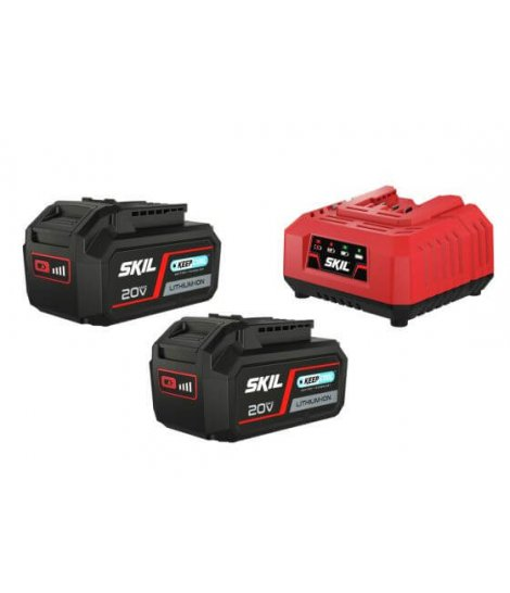 Set 2 baterías 20V Max 4,0 Ah «Keep Cool» ión-litio y cargador Skil 3112 BA