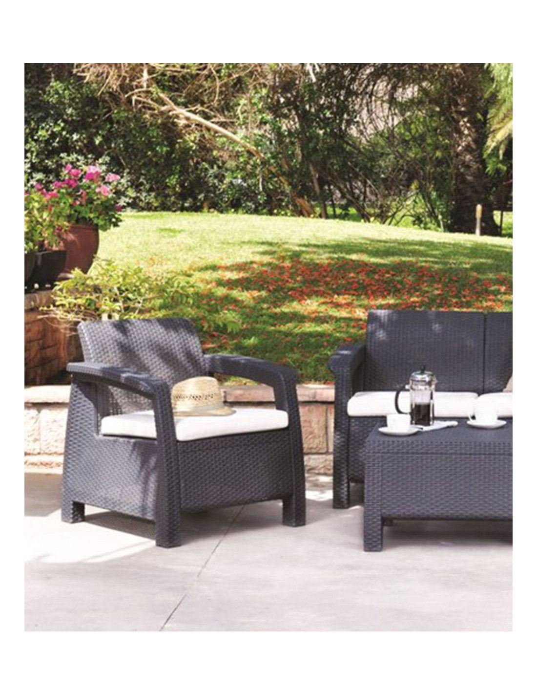 Set de muebles para terraza corfu 4 piezas marca curver for Set terraza