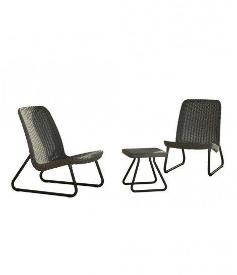 Set de muebles para terraza o balc n r o 3 piezas curver for Conjunto muebles balcon