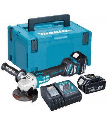 Amoladora sin escobillas BL 18V LXT 125mm con dos baterías 5.0Ah y maletín Makita DGA513RTJ