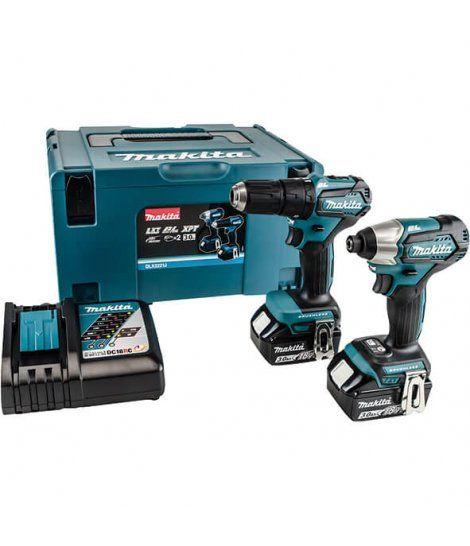 Combo Taladro Percutor + Atornillador de Impacto 18V con 2 baterías 3Ah + kit puntas y brocas Makita DLX2221JX2