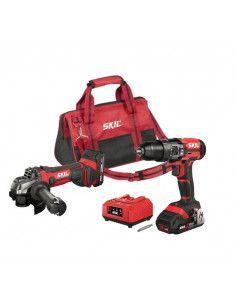Set Taladro Percutor + Amoladora 20V Max con 2 Baterías y bolsa Skil SCK245