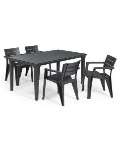 Set mesa futura + 4 sillas Ibiza Curver