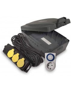Caja eléctrica impermeable para Jardín IP54 Luceco MasterPlug WBXIP36T/E-MP
